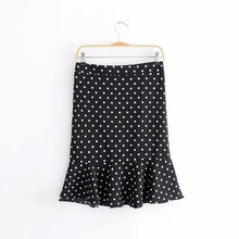 New Summer Black Skirt Women High Waist Plus Size Floral Print Polka Dot Ladies Summer Skirts Skater Vintage Midi Skirt G7-0117