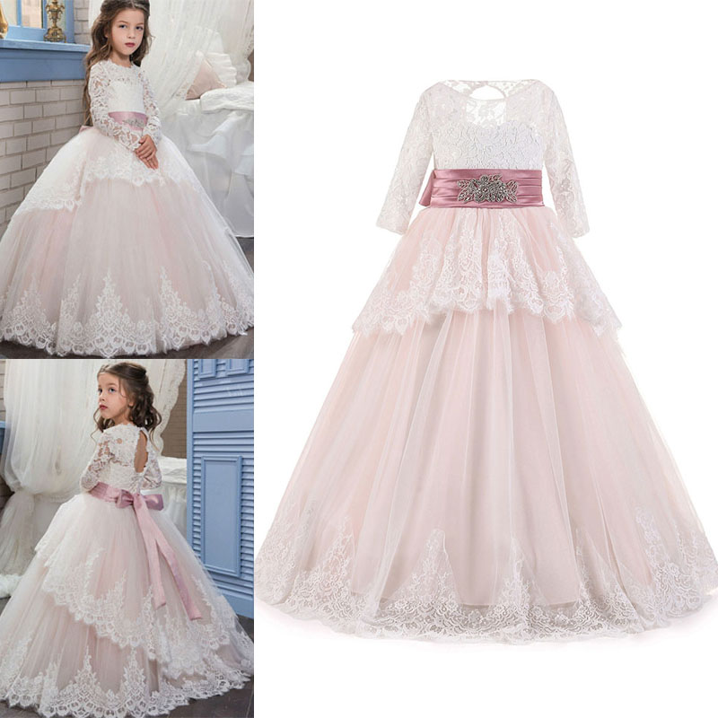 Pink Flower Girl Formal Princess Dress Kid Baby Party Wedding Pageant Dresses lace girl clothing princess dress kid baby party wedding pageant formal mini cute white dresses clothes baby girls