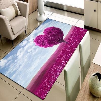 Else Purple Farm In Tree Blue Sky Floral Flower 3d Print Non Slip Microfiber Living Room Decorative Modern Washable Area Rug Mat