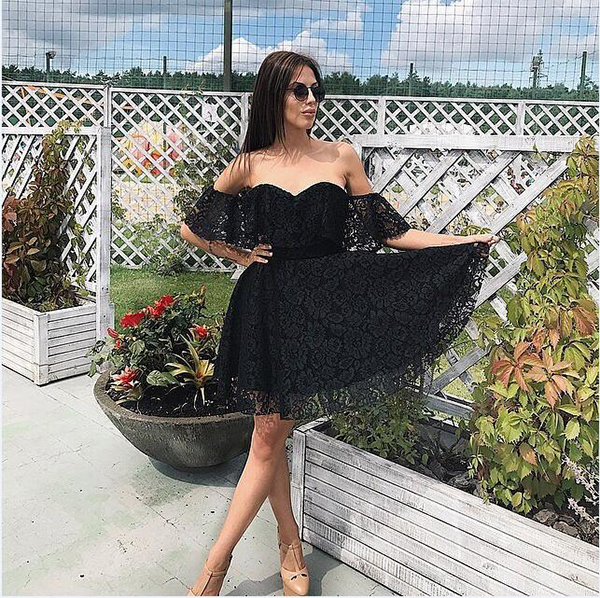 12740b5ca69 LDZHPS 2018 Sexy Off shoulder Slash neck summer dress women Elegant Red  Black Lace Ruffles dress Fashion strapless party dresses-in Dresses from  Women s ...