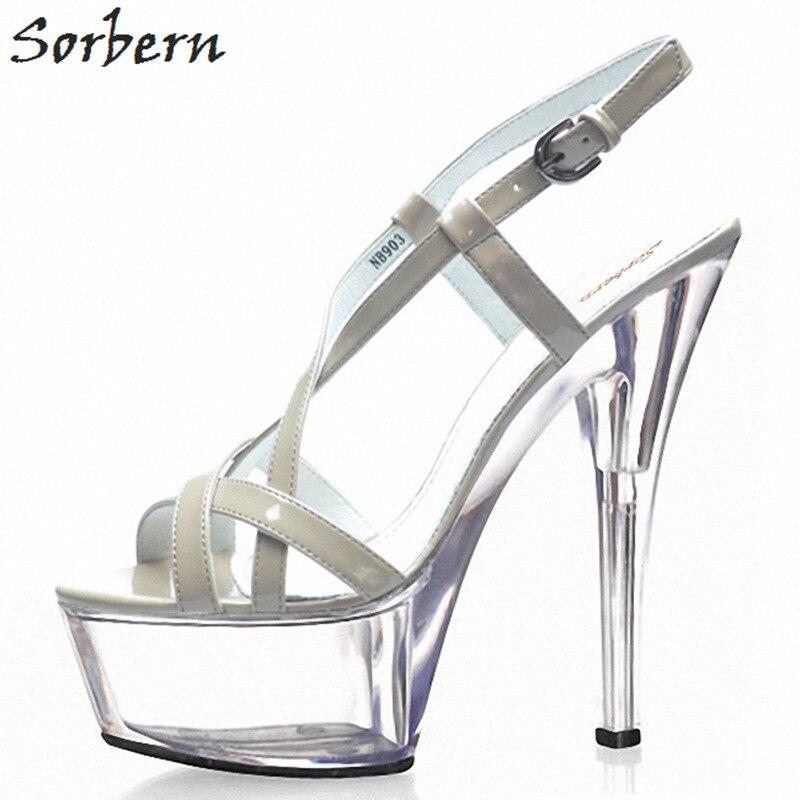 Sorbern 15 เซนติเมตร Clear รองเท้าส้นสูงสายคล้องรองเท้าแตะรองเท้าฤดูร้อนรันเวย์รองเท้าส้นหนาจีนขนาด 43 รองเท้าผู้หญิงรองเท้าแตะ-ใน รองเท้าส้นสูง จาก รองเท้า บน   3