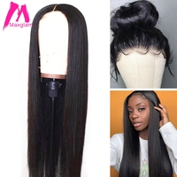30 inch 13x6 Transparent Lace Front Human Hair Wigs 250 density For Black Women Brazilian Straight Frontal Wig Pre Plucked