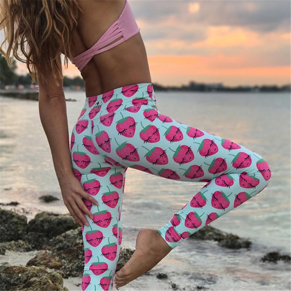 d525ea25b0 Whimsical Funny Strawberry printed athletic yoga leggings women running  sport tights girls baby blue pineapple fitness