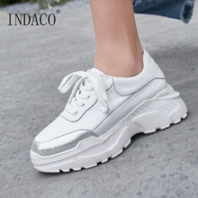 Sneakers Women Leather Pink White Fashion Causal Shoes 7.5cm