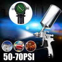 50 70PSI 1.4mm HVLP Gravity Feed Spary Gun Set Airbrush Regulator Auto Paint Primer Metal Flake