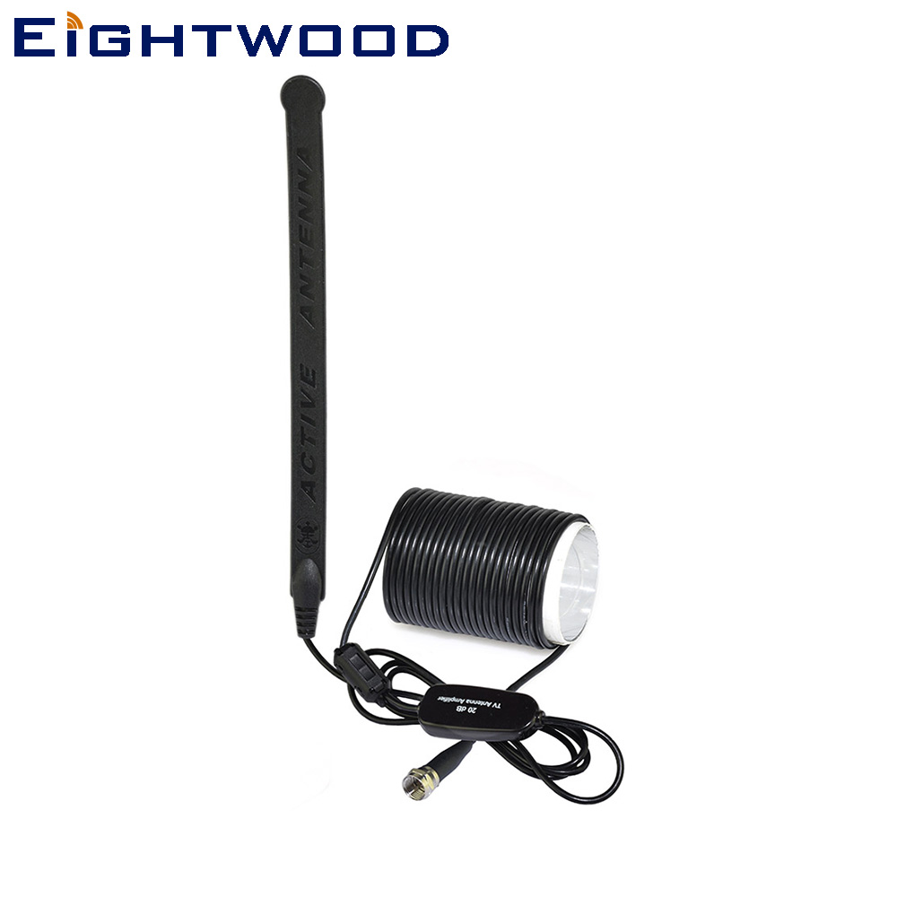 Eightwood Car Antenna for Digital TV DVB-T T2 Windshield Active Antenna 20dBi Built-in Amplifier F Connector Glass Mount Aerial