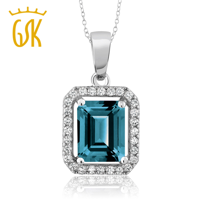 Gemstoneking 266 ct octagon natural london blue topaz fine gemstoneking 266 ct octagon natural london blue topaz fine jewelry 925 sterling silver gemstone pendant necklace mozeypictures Gallery
