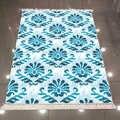 Autre bleu damassé traditionnel authentique Vintage Design 3d impression microfibre anti-dérapant dos lavable décoratif Kilim tapis