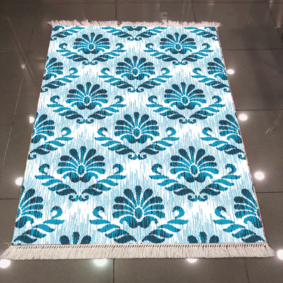 Else Blue Damask Tradional Authentic Vintage Design 3d Print Microfiber Anti Slip Back Washable Decorative Kilim Area Rug Carpet