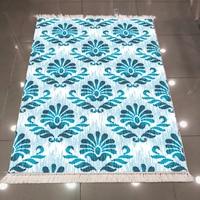 Else Blue Damask Tradional Authentic Vintage Design 3d Print Microfiber Anti Slip Back Washable Decorative Kilim Area Rug Carpet