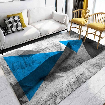 Else Blue Gray Blue Triangle Geometric Abstract 3d Print Non Slip Microfiber Living Room Decorative Modern Washable Area Rug Mat