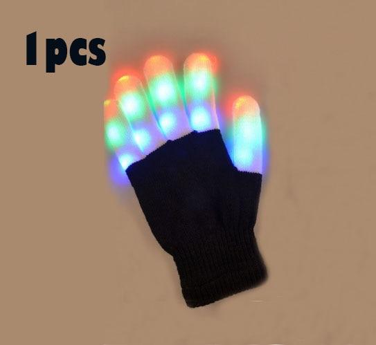 Girl's Gloves Led Rave Flashing Glove 1 Piece Glow 7 Mode Light Up Finger Tip Lighting Black Vd New Hot Glove