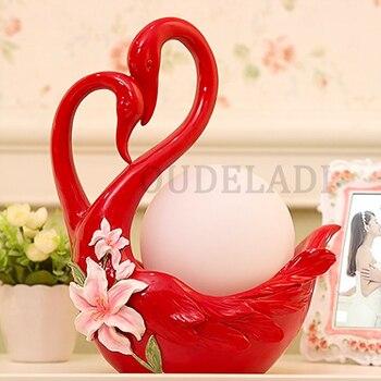 Candeeiros De Mesa Moderno Novo Casamento Cisne Vermelho Quente Prático De Cabeceira Quarto Criativo Sala De Estar Quarto Casamento Personalidade Europeia