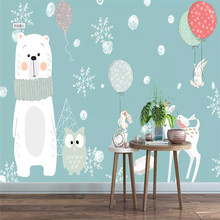 Elegant bear cubs childrens room background wall professional production murals wholesale wallpaper mural poster photo