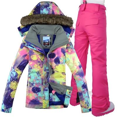 GSOU neige marque femmes veste de Ski pantalon Snowboard costume coupe-vent imperméable thermique sports de plein air porter des vêtements de Ski Snowboard - 5