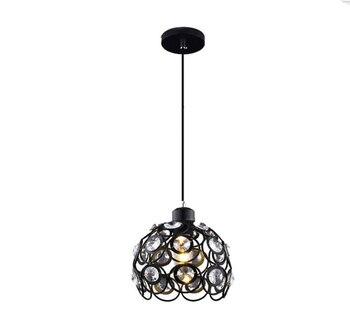 Moderne noir pendentif LED lumières fer rétro loft lampe en métal suspension E27 intérieur cristal suspension lampe pendante vintage lumière