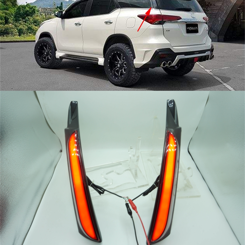 Free shipment LED Rear Bumper Light, warning lights, rear fog lamp, Brake Lights, turn signal for FORTUNER 2015 2016,DRL car styling tail lights for toyota highlander 2015 led tail lamp rear trunk lamp cover drl signal brake reverse