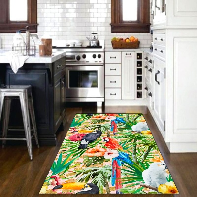 Else Tropical Parrots Green Jungle Leaves Animals 3d Print Non Slip Microfiber Kitchen Modern Decorative Washable Area Rug Mat