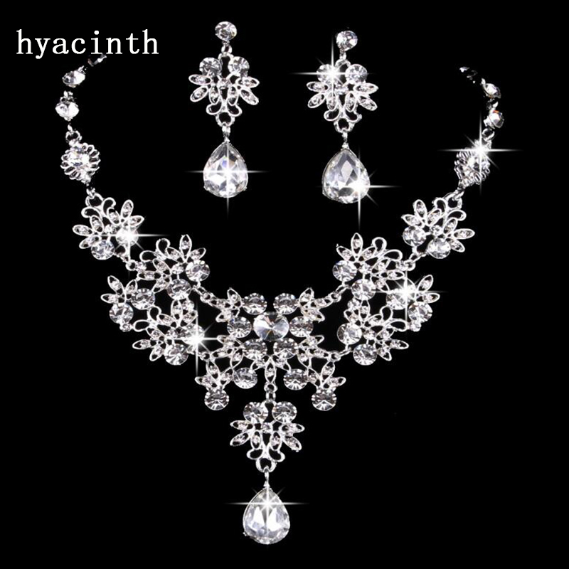 Fashion Zircon Wedding Jewelry Sets For Bride Party Costume Accessories Bridal Decorations Necklace Earring Jewellery for Women