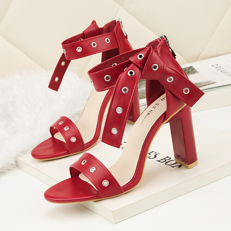 Talons Haute Style rouge Mode Beige Creux Rome noir Sexy Hauts Sandales Coréenne Txw7g