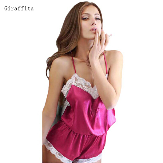 Summer Sexy Lace Stitching Back Cross Straps Halter Lace One Piece Pajamas Color Fuchsia And Blue