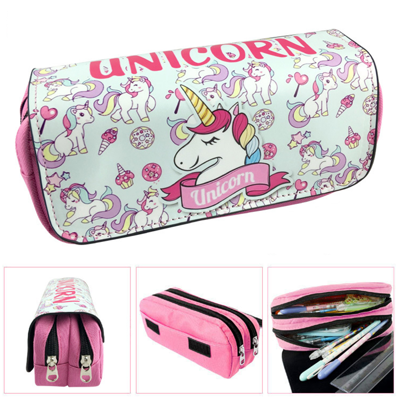 Cute unicorn pencil case 3D PU leather big capacity pen pouch Double zipper Cosmetic makeup bag school supplies big capacity high quality canvas shark double layers pen pencil holder makeup case bag for school student with combination coded lock