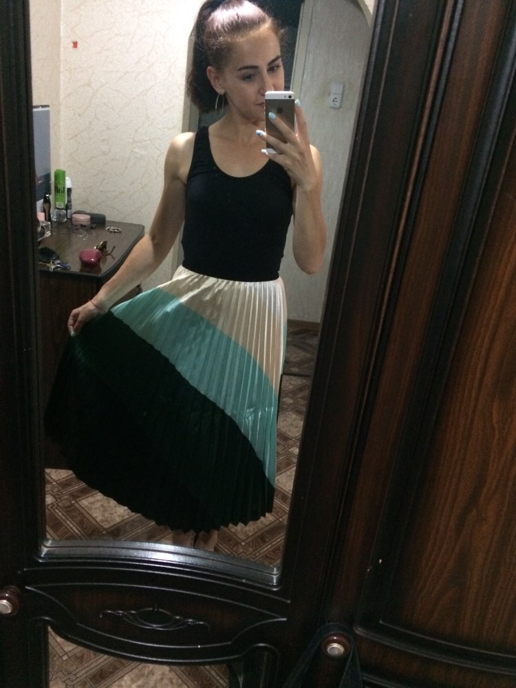 Srping Summer Women Skirts Cartoon Printing Midi Pleated Skirt Floral High Elasticity Jupe Femme Green Skirts Plus Size photo review