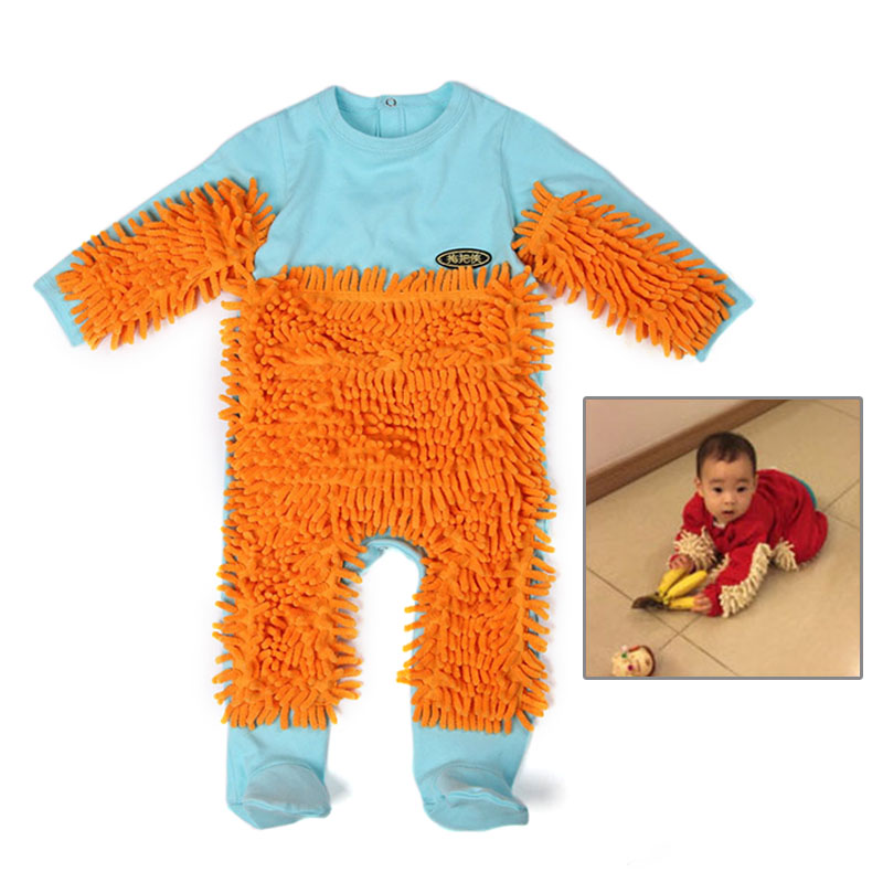 Baby Romper Mop Rompers Newborn Clothes Baby Cotton Girls Boy Jumpsuit Long-sleeve Crawling Clothes Floors Cleaning Mop Suit