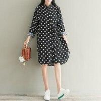 Tops Blusas ZANZEA Women Polka Dot Buttons Down Knee Length Vestido Vintage Female Bowknot Tie Casual