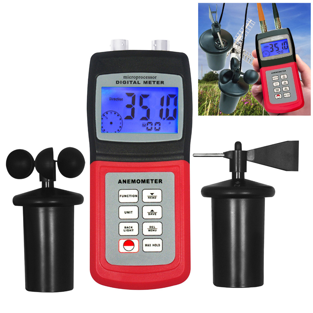 Digital Anemometer Wind Speed Meter Thermo CUP Type Sensor Probe Anemometer Air Weather Direction Flow Speed TemperatureDigital Anemometer Wind Speed Meter Thermo CUP Type Sensor Probe Anemometer Air Weather Direction Flow Speed Temperature