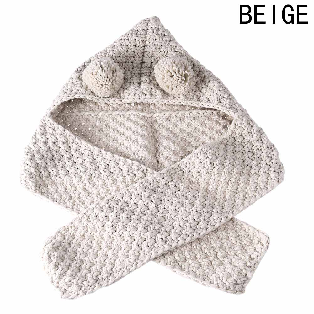 Gray Beige Winter Knitted Double Ball Hats Baby Girls Shawls Hooded Cowl Beanie Scarf