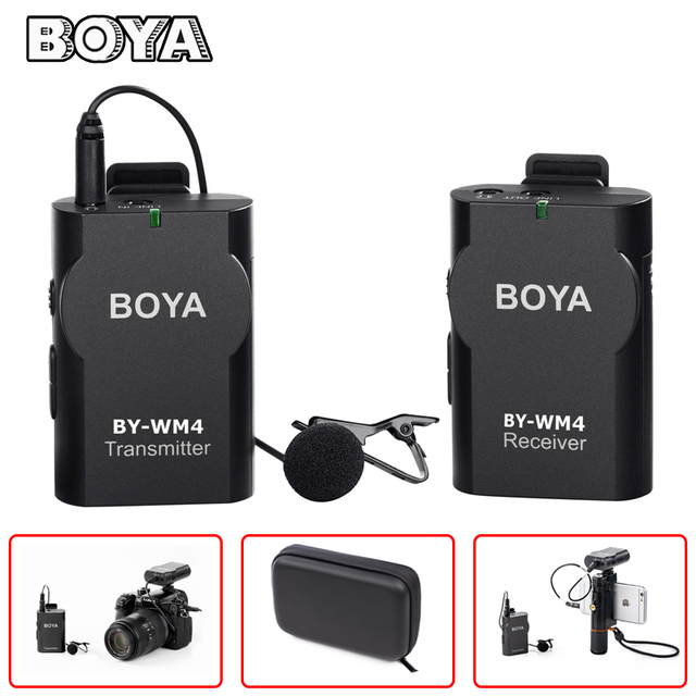 BOYA BY-WM4 Professional Wireless Microphone System Lavalier Lapel Mic for Canon Nikon Sony DSLR Camcorder Recorder iPhone X 8 7
