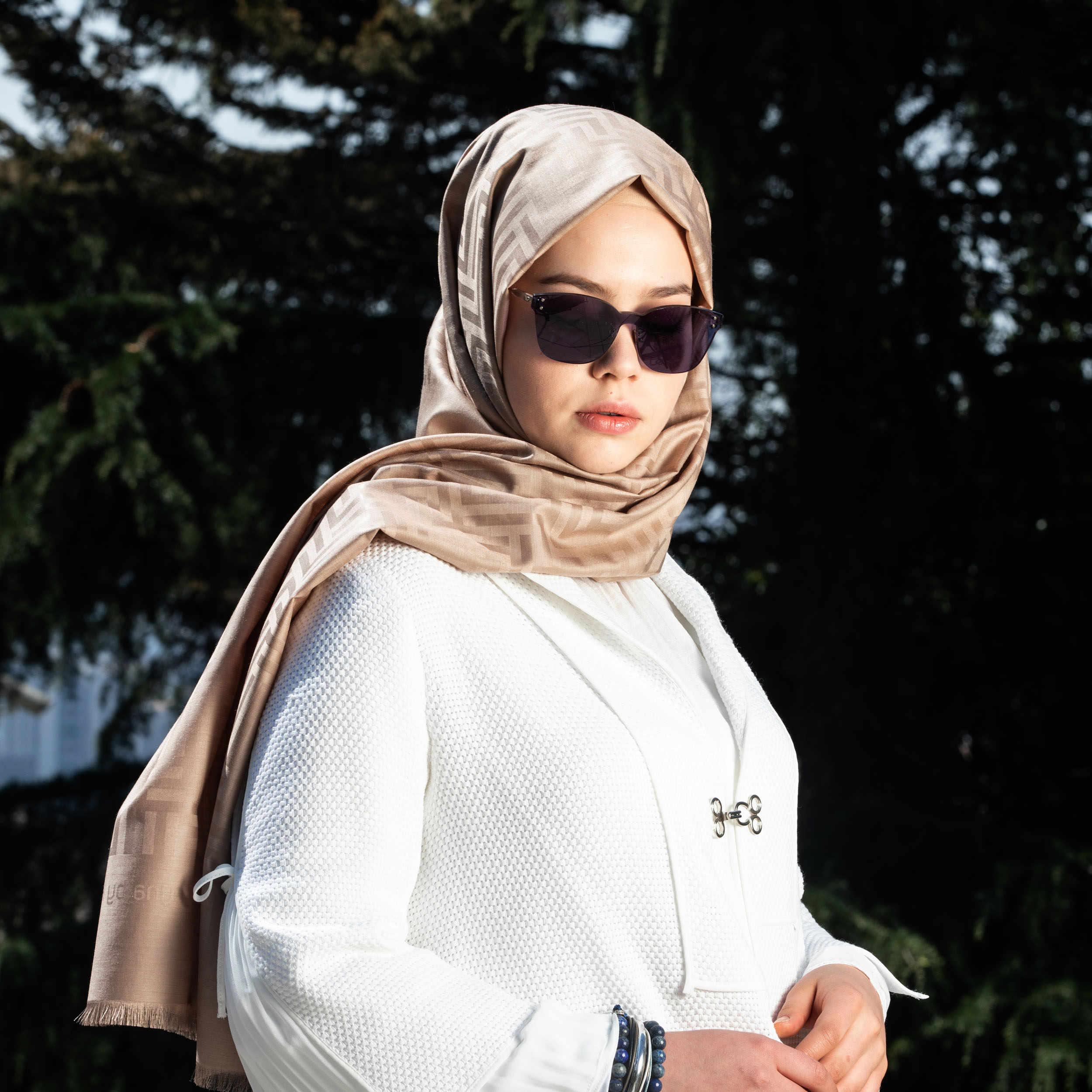 LeynabyHF bufanda de Muscat Beige/chal 190cm * 70cm seda y lana ...