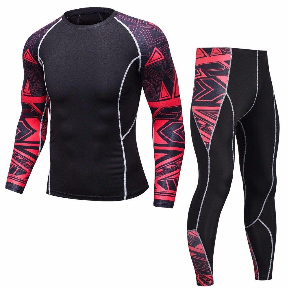 Brand Sportswear MMA Rashguard Long Sleeve Set Men Compression Fitness Clothing Tracksuit For Men 2018 Crossfit Men T-Shirt Sets