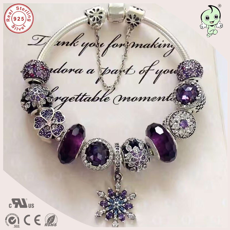 Best Quality Luxuxious And Nice Silver Jewelry Gift Noble Purple Silver Charm Series 925 Real Silver Snowflake Charms Bracelet hot sale new collection good quality luxuxious shine 925 real silver honeycomb lace ring