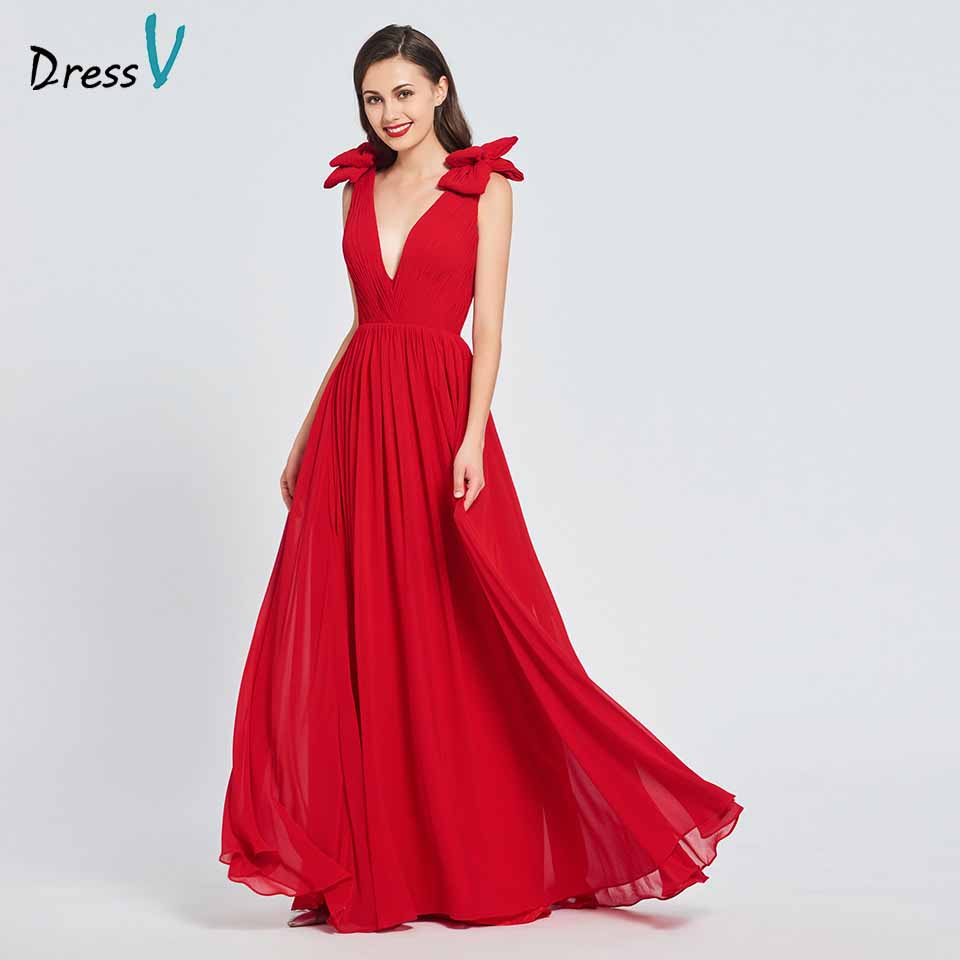 Dressv Party-Gown Backless Elegant Evening Long V-Neck Red Bow Floor-Length A-Line Customize