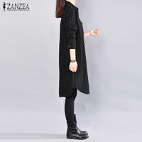 ZANZEA 2017 Autumn Women Fashion Lapel Neck Long Sleeve Tops Striped Blouse Casual Loose Shirts Long