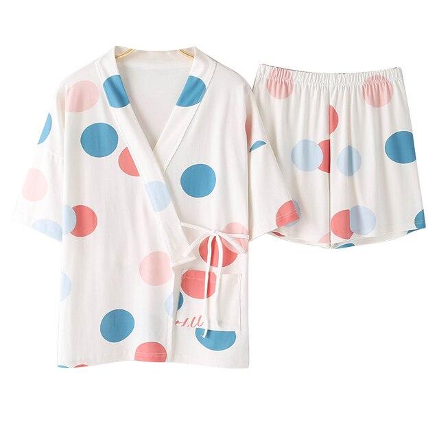 BZELฤดูร้อนขายร้อนชุดนอนชุดสำหรับMujer Vคอแขนสั้นชุดนอนผ้าฝ้ายKawaiiผู้หญิงNightyการ์ตูนสีDotชุดชั้นใน