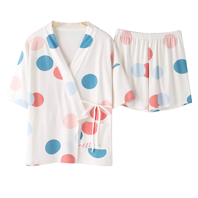 BZEL Summer Hot Sales Pajamas Set For Mujer V-Neck Short Sleeve Sleepwear Cotton Kawaii Women Nighty Cartoon Color Dot Underwear