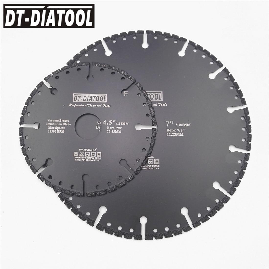 2pcs Vacuum Brazed Diamond Saw Blade All Purpose Cutting Disc Demolition Wheel For Rescue Hard Stone Cast Iron Rebar 115MM-230MM