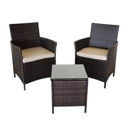 KieferGarden. Envio desde España. Ratán, acero. Conjunto de sofa Washington Mini. 2 sillones y 1 mesa de café. Muebles Außen
