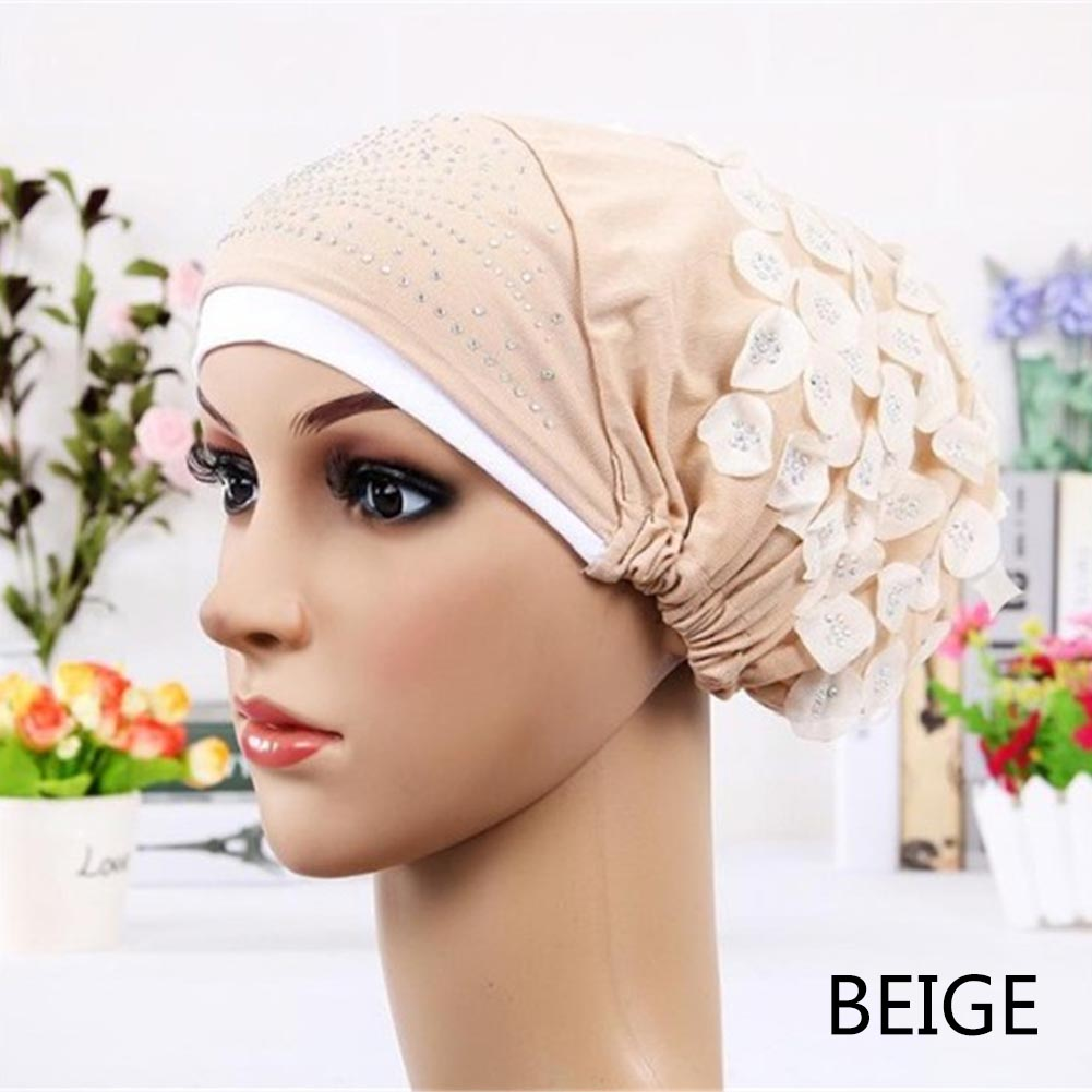 2017 New Design Islamic Scarves Wraps Hijab caps Womens Muslim Inclusive Cap Crystal Flower Muslims Hat hijab undercaps black muhammad saleem yusuf islamic commercial law