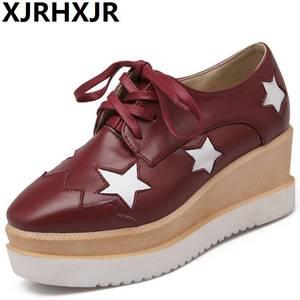 XJRHXJR Wedge High Heels Pumps Platform Shoes Red Black b8c024b0d97