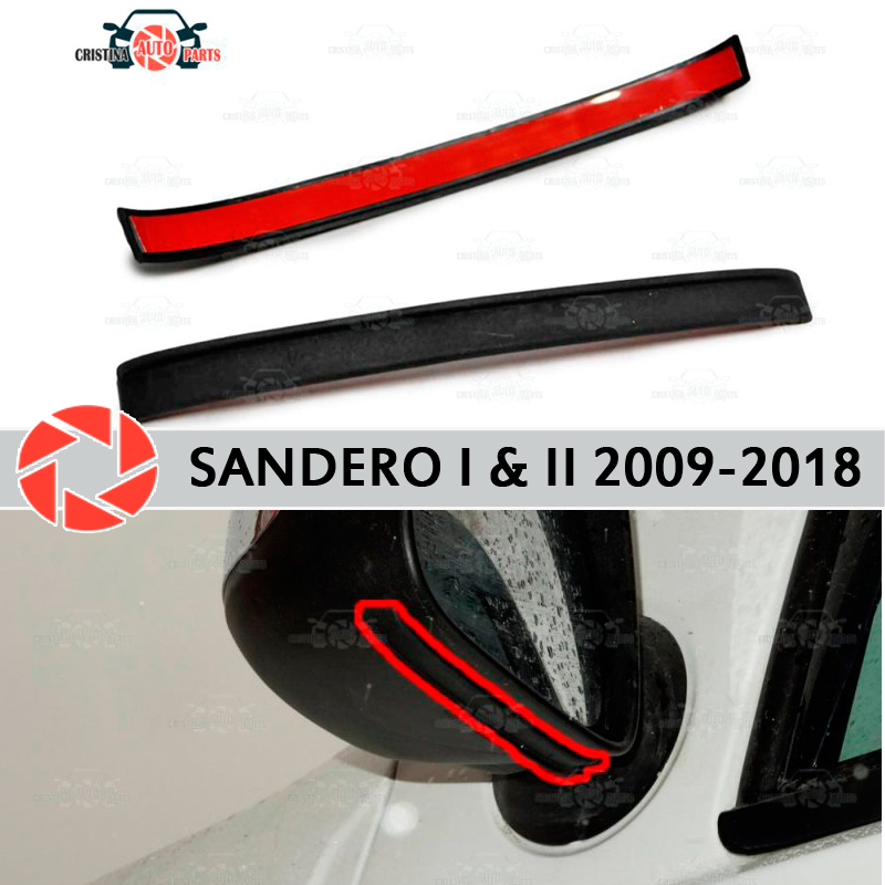 Mirror spoiler for Renault Sandero 2009 2018 aerodynamic rubber trim anti splash guard accessories mud guard