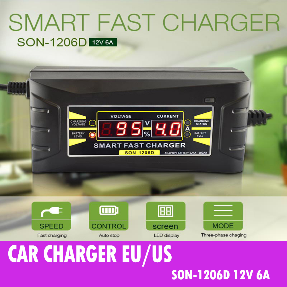 12V 6A Smart Fast Lead-acid Battery Charger for Car Motorcycle LCD Display EU//US