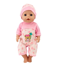 Doll Clothes Born New Baby Fit 18 inch 43cm Blue Bear and Pink Hat Suit accessories For Gift