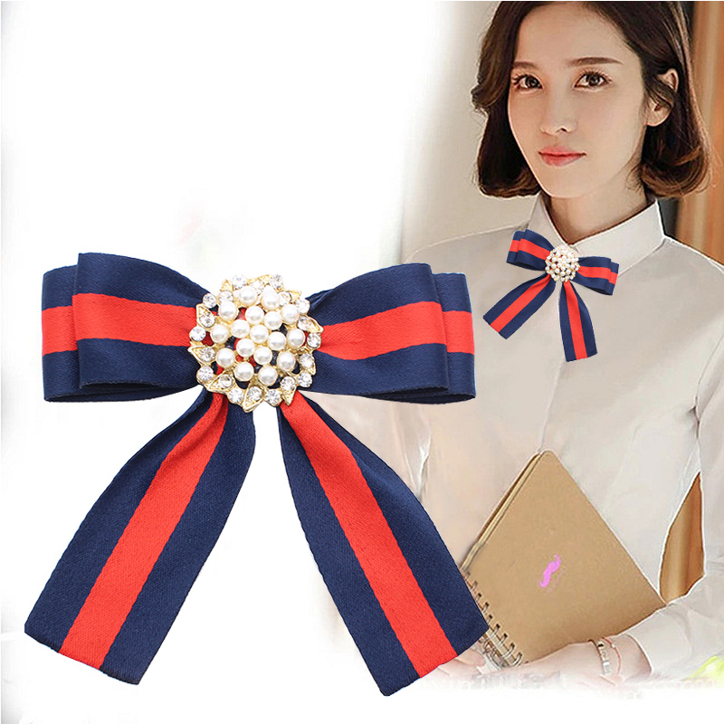 Simulated Pearls Flower Vintage Retro Brooches Ribbon Bow Collar Pins Shirt Tie Cravat Wedding Bowknot Brooch Jewelry