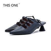 Роскошная фирменная обувь женские босоножки новые сезон: весна–лето Европейский римские сандалии Шлёпанцы острым сандалии на полой подош