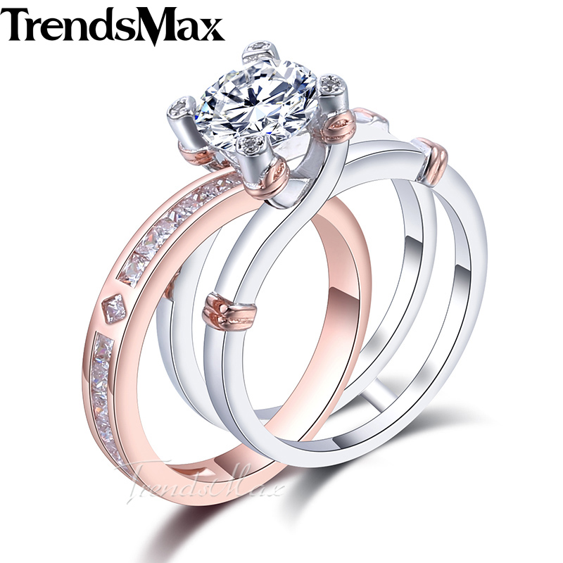Trendsmax Round Cut Cubic Zirconia Women Band Ring 925 Sterling Silver Wedding Engagement Pink Gold Color 2.97-7.66 Carat KSRM06 3 4mm round cut brilliant cz 925 sterling silver rose gold plated women fashion engagement wedding cubic zirconia ring
