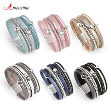 Amorcome 6 Colors MultiLayers Leather Bracelet Women Alloy Rhinestone Beads Magnet Charm Style Wrap Bracelets & Bangles Jewelry(China)